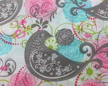 Parakeet Bird Fabric By the Yard, Half, Fat Quarter Gray Lime Pink Aqua Blue Floral Paisley 100% Cotton Quilting Apparel Fabric BTY a1/28