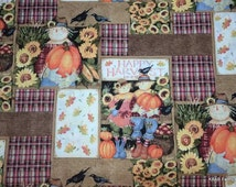 Thanksgiving Fabric By the Yard, Half, Fat Quarter Harvest Fabric Scarecrow Sunflower Autumn Pumpkin 100% Cotton Quilting Fabric BTY t/hc