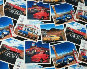 ROUTE 66 Fabric By the Yard or Half Yard, Fat Quarter Photos Highway Rt 66 Cars Diner USA Vacation Travel Cotton Quilting Apparel BTY t/s