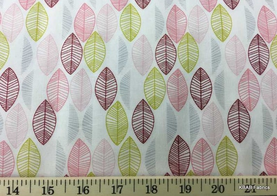 Line Art Modern Leaves Multi Color Leaf Cotton Quilting