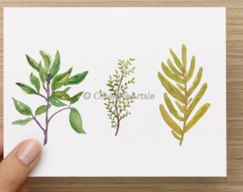 """Watercolor Card / Hand-Painted Greeting Card / Blank Card- 5.5""""x4"""""""