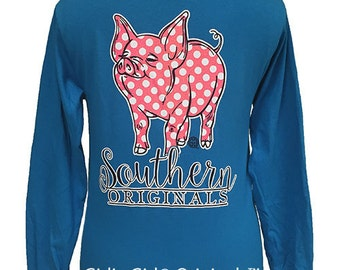 Girlie Girl Originals Polka Dot Pig Long Sleeve T-Shirt