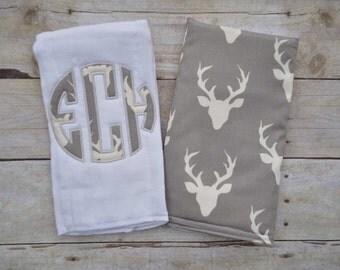 Monogrammed Burp Cloth, Antlers Burp Cloth, Baby Boy Monogram Burp Cloth, Baby Boy Gift, Baby Boy Shower Gift, Boy Burp Cloth