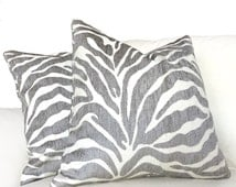 """Ethan Allen Gray Large Animal Zebra Tiger Stripe Designer Upholstery Pillow Cover, Fits 12x18 12x24 14x20 16x26 16"""" 18"""" 20"""" 22"""" 24"""" Cushions"""