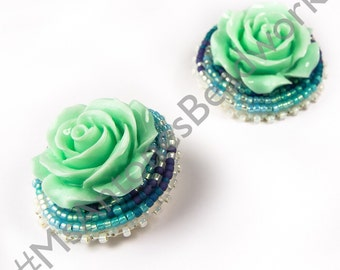 Mint green & matte rose stud earrings