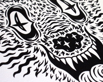Psychedelic Black Wolf Screen Print