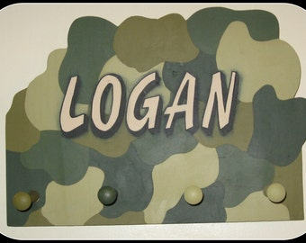 Camo, Personalized, Name Plaque,with Pegs