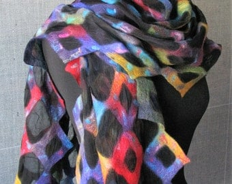 nuno felted shawl, fine merino wool and silk, handmade, mulitcolored, geometric pattern.