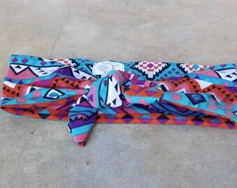 Purple Teal Tribal KNOT Headband // Knot Headband, Toddler Headband, Baby Headband, Tribal Headband