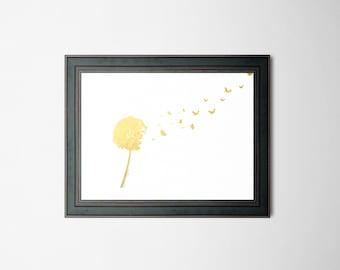 Dandelion Custom Colored Foil Print