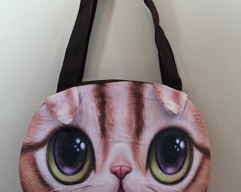 3 D cat face tote bag( c4)
