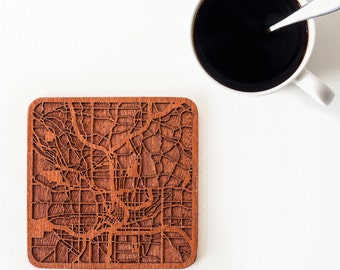Atlanta map coaster, One piece, Sapele wooden coaster with city map, Multiple city optional, IDEAL GIFTS