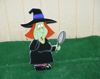 Halloween Witch Breaks Mirror Yard Sign
