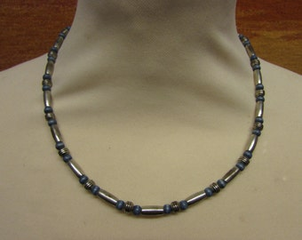 """1960s/70s silver-tone & blue bead """"space-age"""" necklace"""
