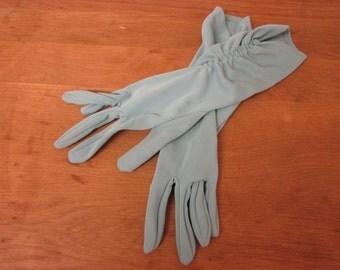 Vintage ladies pastel mint ruched dress gloves