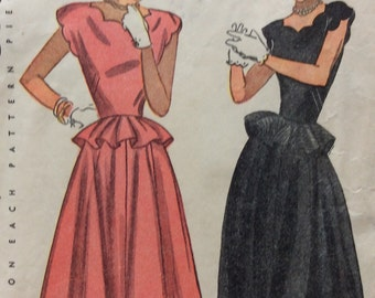 Simplicity 2238 vintage 1940's junior misses sewing pattern for daytime or evening dress size 12 bust 30