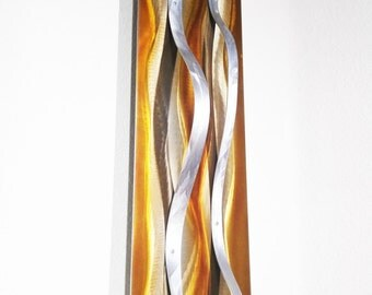 """Modern Abstract Metal Decor Wall Sculpture - Copper, Bronze, Silver """"Tide"""" by Dustin Miller"""