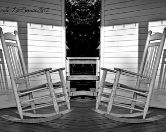 ROCKER in the SHADOWS #3 ~ Black and White Fine Art Photography ~ Rocker on the Back Porch ~ Cajun Decor ~ Creole ~ 8 x 12 format