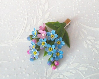 Forget me not hair clip. Floral jewelry. Clay flowers. Spring flowers .Flower hair accessories