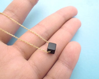 Jet, Black, Square, Onyx, Simple, Chic, Gold, Silver, Necklace, Birthday, Friendship, Mom, Gift, Jewelry
