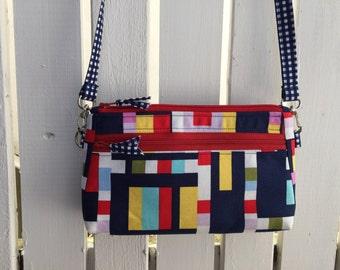 Sale! Crossbody Bag, Womens Purse, Shoulder Bag, Nautical Handbag, Medium Cloth Purse, Color Block Purse, Blue Check Zipper Bag