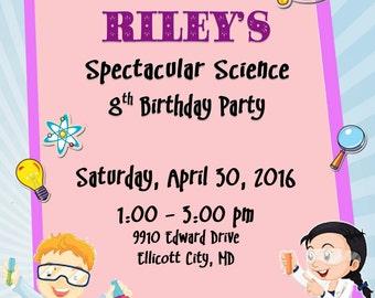 Personalized Customized SCIENCE Birthday Invitation