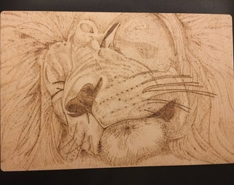 Wood burned sleeping lion pyrography plaque. King of the jungle rustic art piece. Wildlife, jungle, big cat, sleep