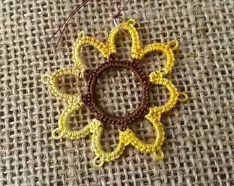 Needle Tatted Sunflower Pendant with black satin cord
