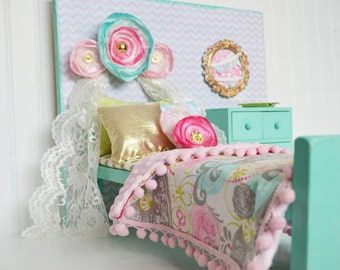 """Bird and paisly American girl bedding, 18"""" doll bediing, pink and mint american doll bedding, Doll bedding, AG accessories"""