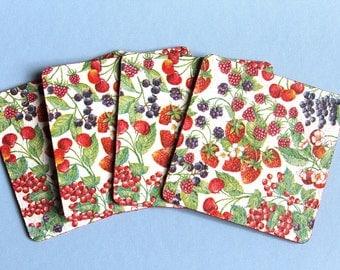 Trivet set berries Cork coasters set of 4 wiped off red strawberries cherries