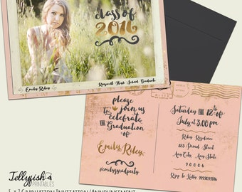 Vintage Postcard Photo Graduation Announcement & Graduation Party Invitation - Customized for you! Rose, Gold, Pink, Black
