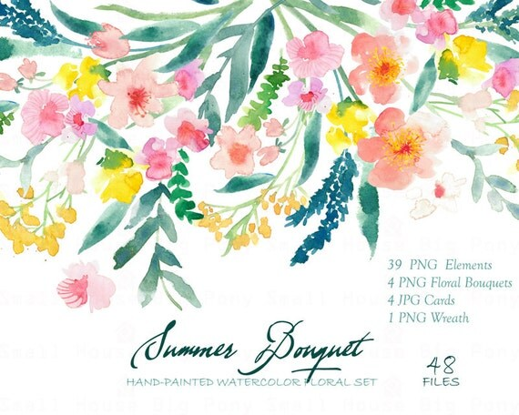 Watercolour Floral Clipart. Handmade, watercolour clipart, wedding diy elements, flowers - Summer Bouquet