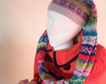 Fair isle hat scarf