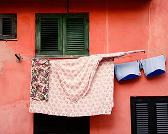 Sicily Photography - Italy Photography - Laundry Room Art - Fine Art Print of Orange and Green house in Sicily with hanging Laundry
