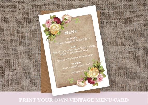 Vintage rose menu template wedding afternoon tea party for Tea party menu template