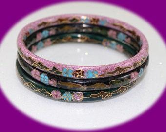 Vintage  Cloisonne enamel bangle bracelet Cloisonne Bangle Bracelet with Floral Pattern  Vintage Bracelet Vintage Jewelry