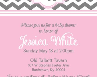 Grey and Pink Baby Shower Invite 5x7