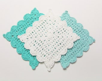 Crochet Dishcloth, Aqua White Crochet Washcloth, Dishcloth Set, Set of 3, Cotton Crochet, Washcloth Set, Handmade Crochet, Kitchen Set