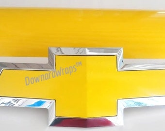 Yellow Gloss  Auto Wrap Vinyl Sheets -2-   U-cut Decal overlays for Chevy Bowtie Emblems Grill & Rear