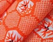 Red-Orange vermilion wool kimono juban fabric with faux shibori hexagons and bamboo - double wide muslin