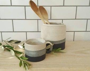 Handmade White Charcoal Utensil Pot