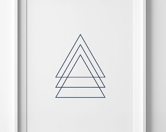 Navy geometric print, wall art printable, triangle wall art, navy wall art print, geometric printable art triangle print geometric wall art
