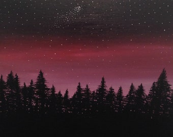 """Red Night Sky 16""""x20"""" acrylic painting on canvas"""