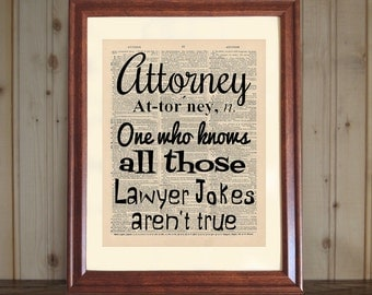 Attorney Dictionary Print, Law Office Decor, Lawyer Quote, Lawyer Print, Attorney Quote, Attorney Print, Lawyer Gift, 5x7/8x10 canvas panel