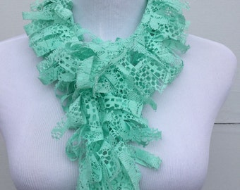 Fringe Scarf, Green Lace Scarf, Mint Green Boa Scarf, Summer Scarf, gift for her, Loopy Scarf, wife gift, birthday gift, ladies accessory