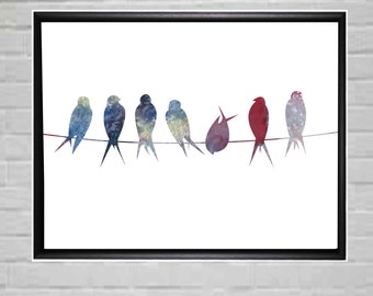 Birds on Wire Art Print Birds Wall Art Modern Wall Art Watercolor Wall Art Large Wall Print Poster Print Watercolor Poster Prints Wall Decor