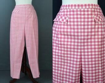 Pink Gingham 60's Pedal Pushers Slim Pant