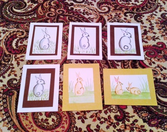 """Hand Painted Bunny Greeting Cards - 4-1/2"""" x 6-1/4"""""""