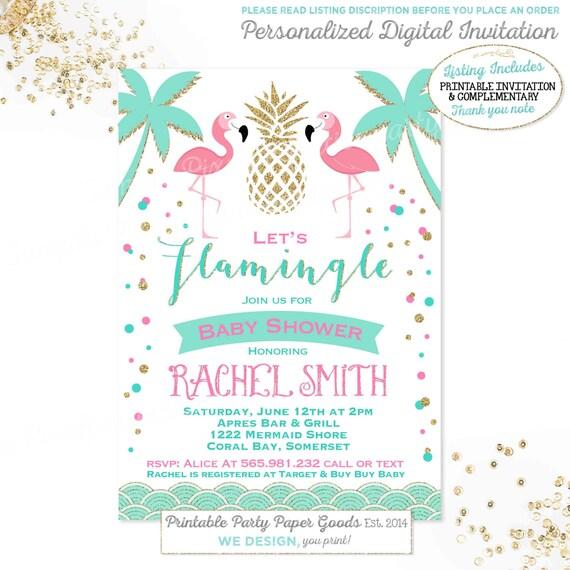 flamingo baby shower invitation luau baby shower invitation tropical