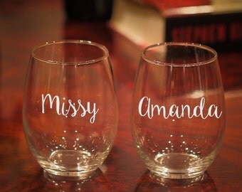 Etched Wine Glass, Wine Glass With Name, Birthday Wine Glass, Birthday Gift, Etched Glasses with Name, Personalized Wine Glass, Stemless